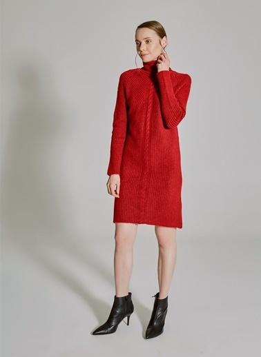 People By Fabrika Örgü Detaylı Triko Elbise Kırmızı